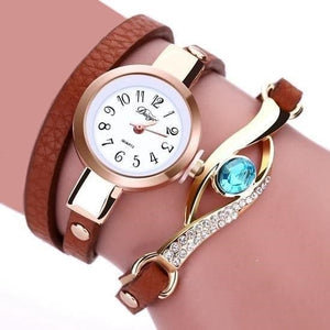 DUOYA Women's Fine Fashion Genuine Leather Luxury Gold Blue Sapphire Gemstone Bracelet Watch - Divine Inspiration Styles