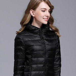 GODLIKE Women's Pure Color Trendy Autumn Winter Spring Fashion Ultralight Parka Jacket - Divine Inspiration Styles