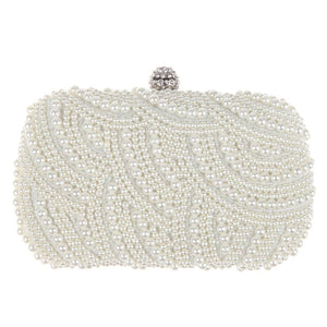 MOJOYCE Oval Shaped Pearl Beaded Handbag