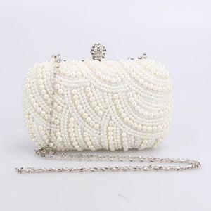 MOJOYCE Women's Fashion Premium Quality Oval Shaped Pearl Beaded Designer Day and Evening Clutch Bag - Divine Inspiration Styles