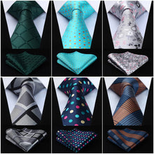 "HISDERN Men's Fashion Polka Dots Checker Plaid Floral 3.4"" Silk Neckties and Handkerchief Sets"