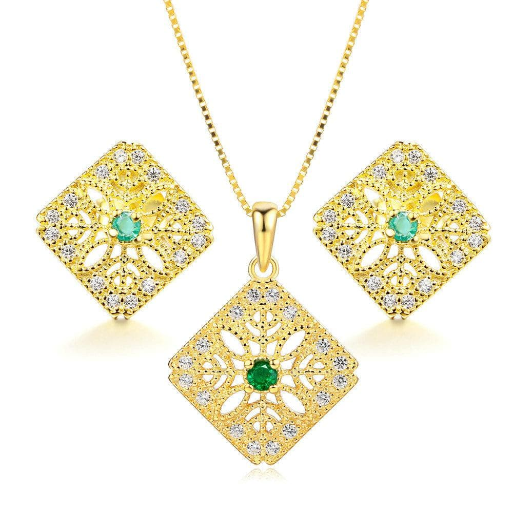 MBY Women's Genuine Natural Emerald Gemstone 2PCS Jewelry Set - Divine Inspiration Styles