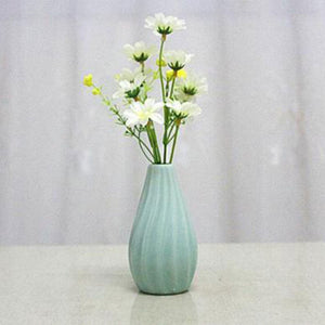 SOLEDI Ceramic Wavy Stripes Flower Vase Classic Home Office & Living Room Table Decoration Ornaments 4 Colors - Divine Inspiration Styles