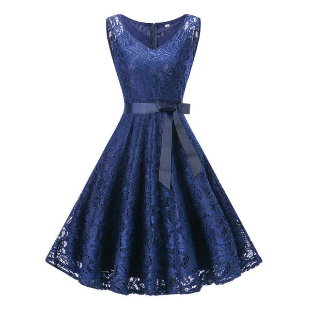 LIONESS FASHION Women's Elegant Vintage V-Neck Belted Lace Dress - Divine Inspiration Styles