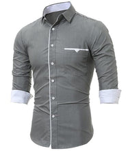 T-BIRD Men's Business Casual Fashion 3/4 Long Sleeves Solid Social Dress Shirt