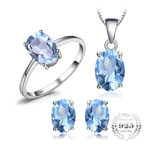 JWP Women's Fine Fashion 5.8ct Genuine Natural Blue Topaz Jewelry Set - Divine Inspiration Styles