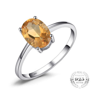 JewelryPalace Genuine Natural Citrine Birthstone Solitaire Ring