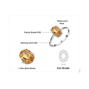 JEWELRYPALACE Women's Fine Fashion Genuine Natural Citrine Birthstone and Solitaire Ring - Divine Inspiration Styles