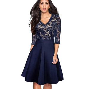NICE-FOREVER Women's Fashion Vintage Elegant Floral Lace A-Line Flare Formal Dress - Divine Inspiration Styles