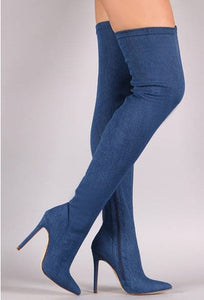 TAMANNA Design Women's Elegant Fine Fashion Elastic Velvet Thigh High Dress Boots - Divine Inspiration Styles