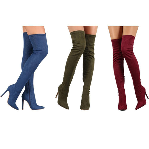 TAMANNA Women's Elegant Fine Fashion Elastic Velvet Thigh High Dress Boots - Divine Inspiration Styles