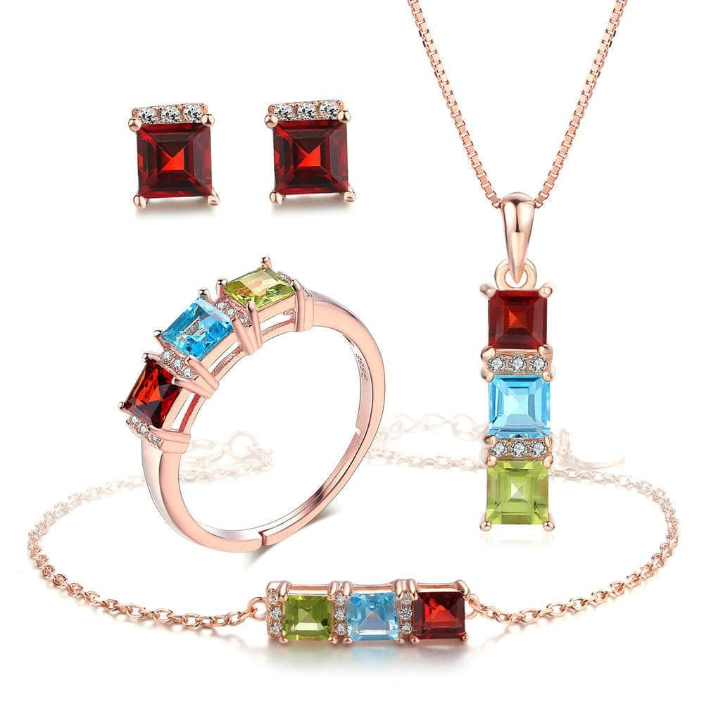 MBY Women's Fine Fashion 3-Stone Genuine Natural Gemstone 4PCS Jewelry Set - Divine Inspiration Styles