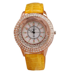 ISIDORE Women's Fashion Genuine Leather Luxury Rhinestone Watch
