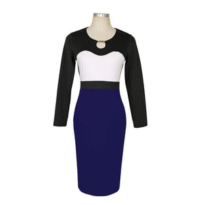 NAIVE SHINE Women's Fashion Multi-Color Elegant Patchwork Office Dress - Divine Inspiration Styles
