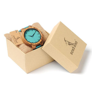 BOBO BIRD Leather Strap Wooden Style Watches