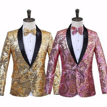 PYJTRL Men's Fashion Gold Pink Flower Sequins Fancy Palette Blazer Suit Jacket with Bow Tie - Divine Inspiration Styles