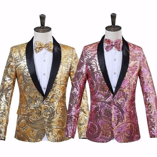 PYJTRL Men's Fashion Gold Pink Flower Sequins Fancy Palette Blazer Suit Jacket with Bow Tie