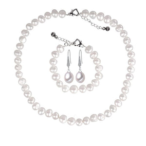 LACEY Women's Genuine Natural Freshwater White Pearl Jewelry Set - Divine Inspiration Styles