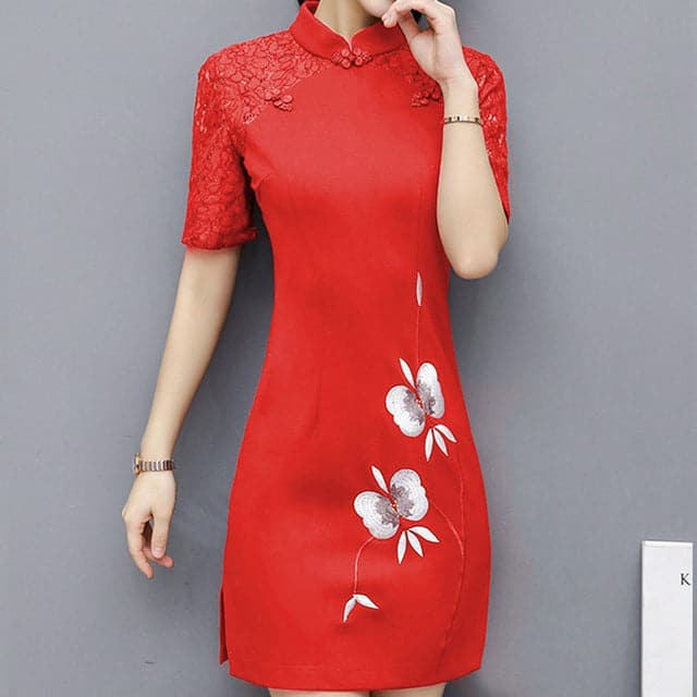 FoxMentor Women's Fashion Elegant Floral Embroidery Spring Summer Lace Dress