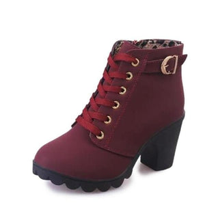 JIASHA Women's Lace-Up Platform Ankle Boots