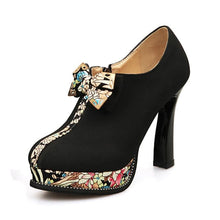 KARINLUNA Women's Luxury Bow Tie Floral Trendy Style High Heels Ankle Boot Shoes