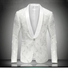 VAGUELETTE Men's Fashion White Embroidered Rose Floral Tuxedo Blazer for Wedding, Prom & Stage Performers