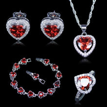 OLIVIA Women's Fashion Red Heart Created Red Garnet and White Zirconia Jewelry Set - Divine Inspiration Styles