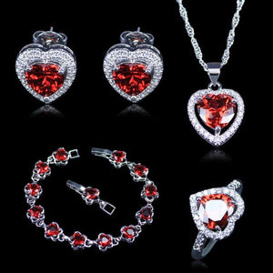 OLIVIA Women's Fine Fashion Red Heart Garnet & White CZ 4PCS Jewelry Set - Divine Inspiration Styles