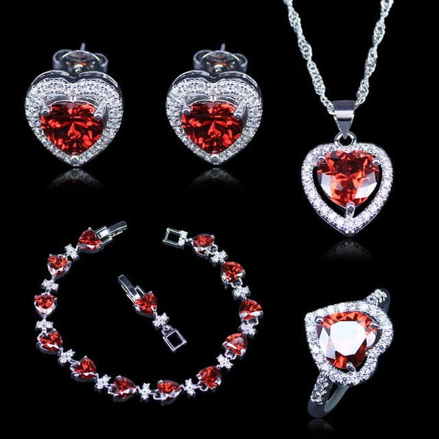 Women's Fashion Red Heart Created Red Garnet and White Zirconia Jewelry Set - Divine Inspiration Styles