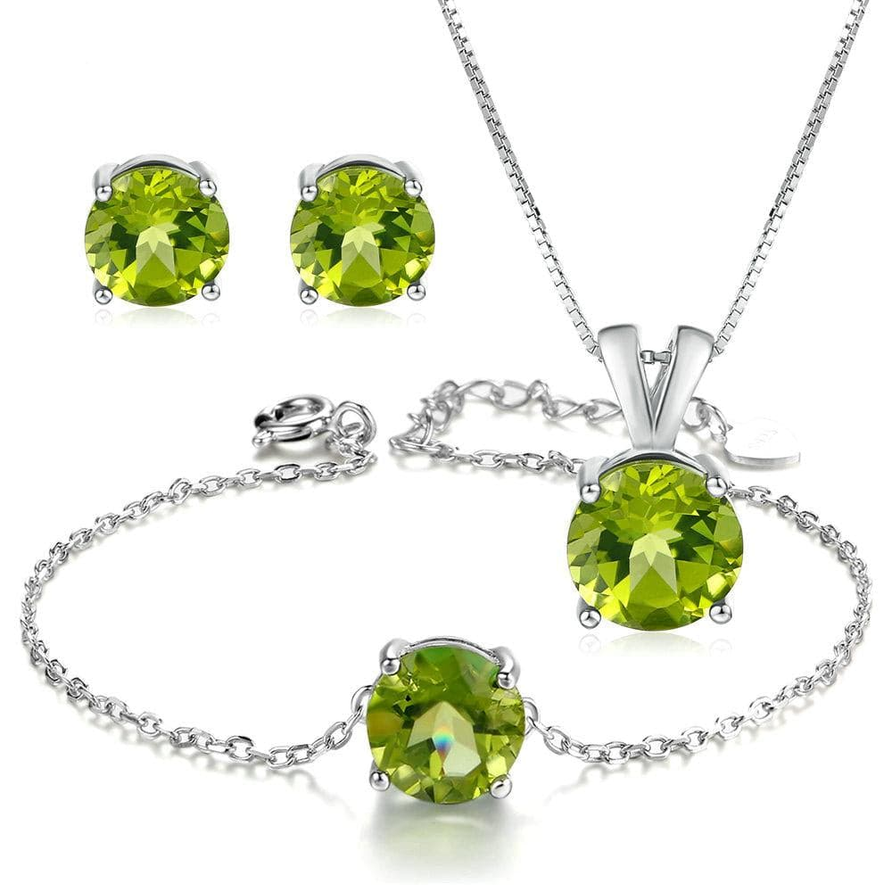 MBY Women's Fine Fashion Genuine Green Peridot Gemstone 3PCS Jewelry Set - Divine Inspiration Styles