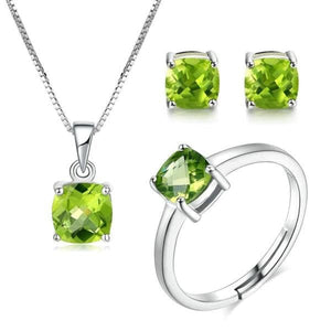 MBY Women's Fine Fashion Genuine Peridot Gemstone 3PCS Ring Jewelry Set - Divine Inspiration Styles