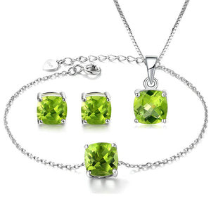 MBY Women's Fine Fashion Genuine Peridot Gemstone 3PCS Bracelet Jewelry Set - Divine Inspiration Styles