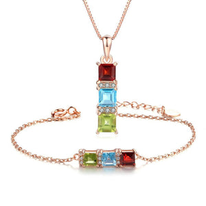 MoBuy 3 Stones Multi-Color Genuine Natural Gemstone Jewelry Set