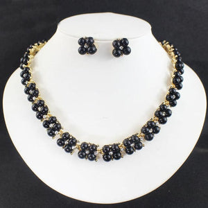 ELEGANT FASHION Women's Double Strand Faux Pearl and Decorated Rhinestone Jewelry Set