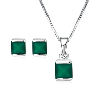 LAMOON Women's Genuine Fine Fashion Natural Green Chalcedony 2PCS Jewelry Set - Divine Inspiration Styles