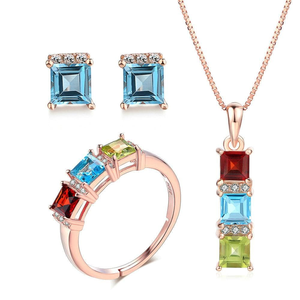 MBY Women's Fine Fashion 3-Stone Genuine Natural Peridot Blue Topaz and Garnet Gemstone 3PCS Jewelry Set - Divine Inspiration Styles