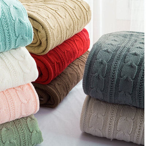 100% Cotton High Quality Handmade Soft Knitted Blanket and Throw