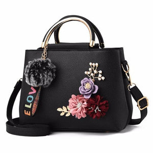 JOOZ Beautiful Bouquet of Flowers Shell Tote Leather Messenger Handbag