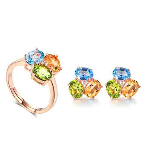 LAMOON Genuine Natural Citrine Peridot Topaz Gemstones 100% Sterling Silver and 18K Rose Gold-Plated 2PCS Fine Jewelry Set for Women - Divine Inspiration Styles