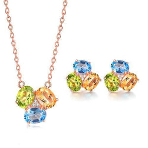 LAMOON Women's Genuine Natural Gemstones Jewelry 2PCS Fine Jewelry Set - Divine Inspiration Styles