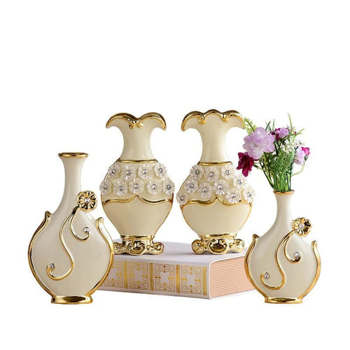 Freeson English Style Handpainted Gold Trim Porcelain Vase Modern Ceramic Flower Vase for Study Room Hallway Home and Wedding Decoration