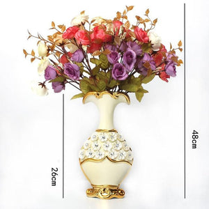 FREESON English Style Gold Trimmed Porcelain Vases for Decorations - Divine Inspiration Styles
