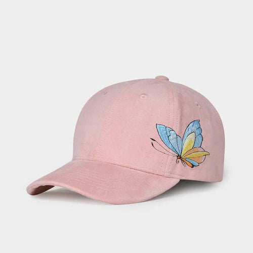 NUZADA Women's Fashion Stylish Feminine Pink Blush Butterfly Embroidery Spring Summer Autumn Denim Fabric Baseball Cap