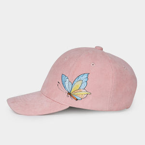 NZA Women's Fashion Stylish Pink Blush Golden Blue Butterfly Denim Fabric Embroidery Baseball Cap - Divine Inspiration Styles