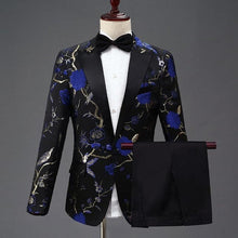PYJTRL Men's Fashion Stylish Embroidery Royal Blue, Green, Red Floral Pattern Suit Set - Divine Inspiration Styles