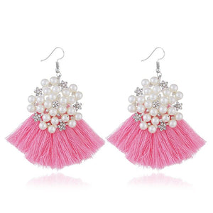 HCL Women's Elegant Fashion Bohemian Pearl Tassel Earrings - Divine Inspiration Styles