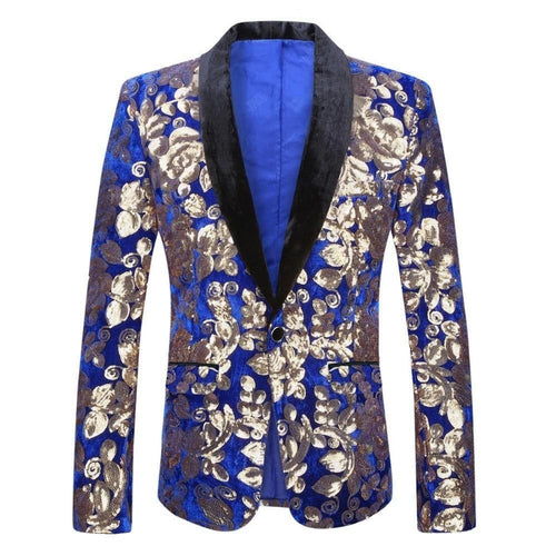 PYJTRL Men's Fashion Stylish Shawl Lapel Royal Blue Velvet Blazer Gold Floral Sequins DJ Singer Wedding Suit Jacket - Divine Inspiration Styles