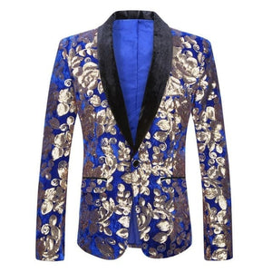 PYJTRL Men's Fashion Stylish Shawl Lapel Royal Blue Velvet Blazer Gold Floral Sequins DJ Singer Wedding Suit Jacket