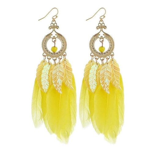 HOCOLE Women's Elegant Fashion Colorful Feather Tassel Earrings Vintage Bohemia Style Earrings - Divine Inspiration Styles