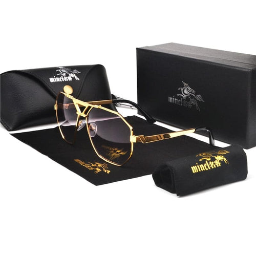 MINCLAA Men's & Women's Luxury Designer Brand Gold Vintage Oversized Sunglasses for Men & Women - Divine Inspiration Styles